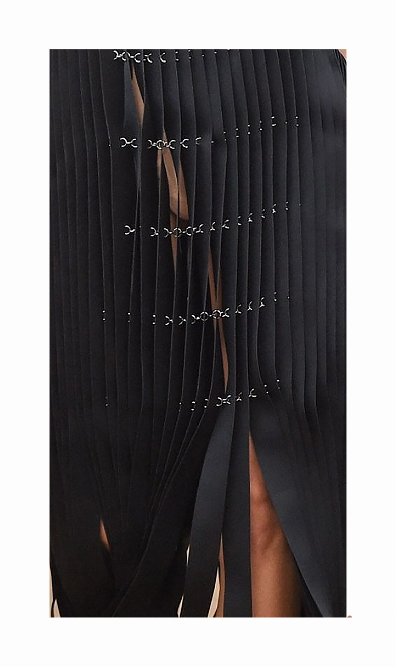 Laser treated lightweight scuba fabric textile straps with chains