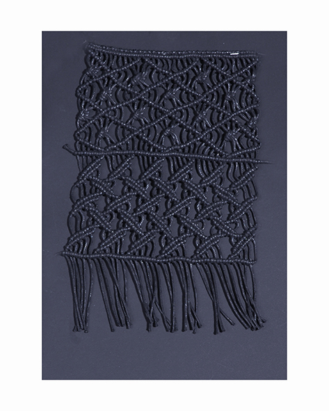 Waxed thread macramè plaited by hand on a loom