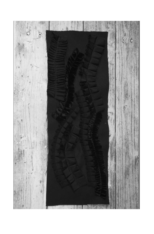 Tweed panel with organza, velvet and tweed fringes